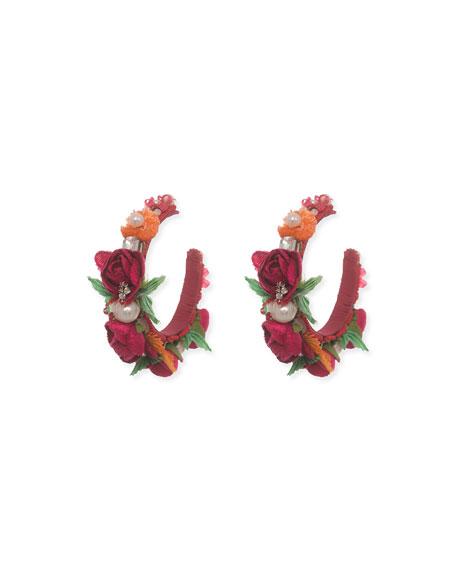 Evelyn-D Floral Hoop Earrings