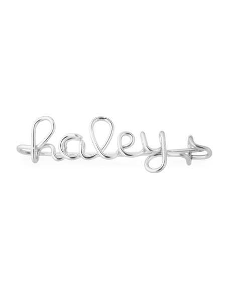 Personalized 15-Letter Wire Brooch, Silver