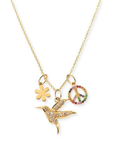 14k Daisy  Peace & Hummingbird Trio Pendant Necklace