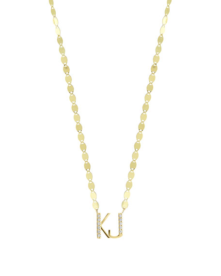 Gold Personalized Two-Letter Pendant Necklace w/ Diamonds