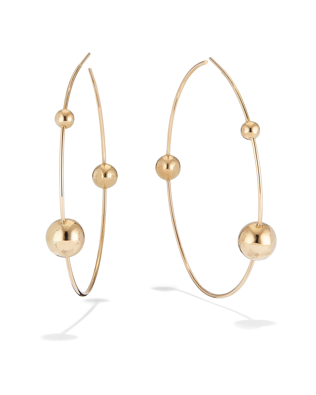 Lana 14K GOLD 3-BEAD HOOP EARRINGS