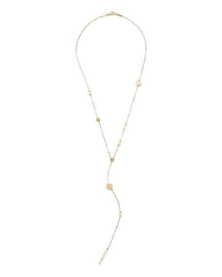 14k Gold Cleo Disc Y-Drop Lariat Necklace