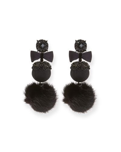 Mink Puff Earrings