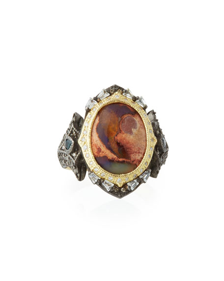 Old World Mexican Fire Opal & Mixed Stone Ring