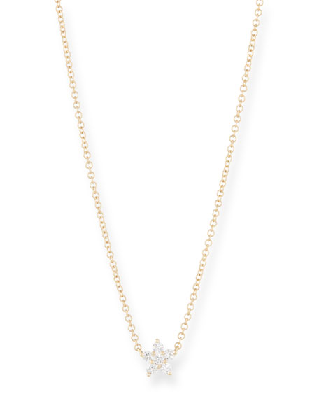 14k Diamond Flower Choker Necklace