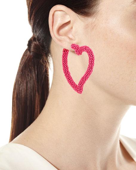 Seed Bead Heart Hoop Earrings, Fuchsia