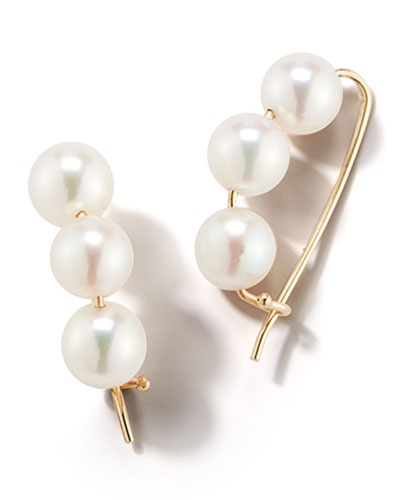 14k Gold Large 3-Pearl Earrings
