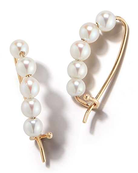 14k Gold Small Pearl Pin Earrings