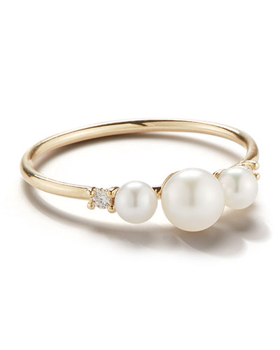 14k Gold 3-Pearl & Diamond Ring, Size 7