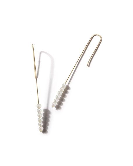 14k Gold 6-Pearl Drop Earrings