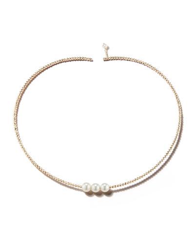 14k Gold Triple Pearl Choker Necklace