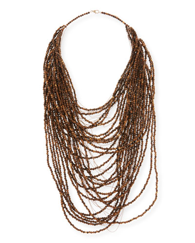 Wood and Silver Multi-Strand Necklace