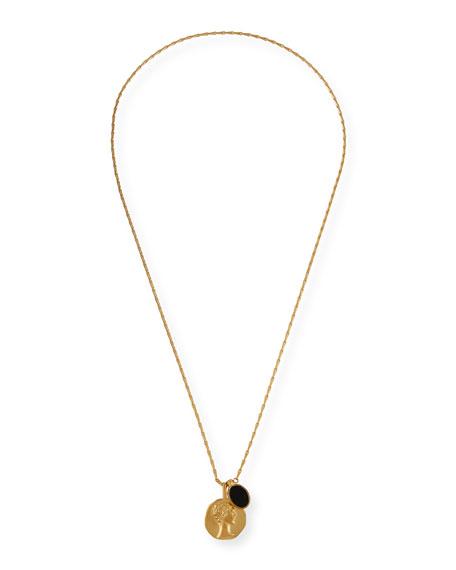 Face & Onyx Medallion Pendant Necklace
