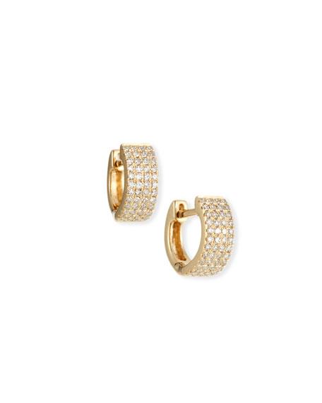 EF Collection 14k Gold Jumbo Diamond Huggie Earrings