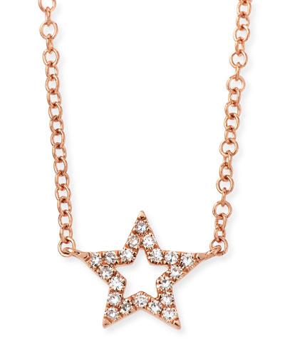 14k Rose Gold Diamond Open Star Necklace