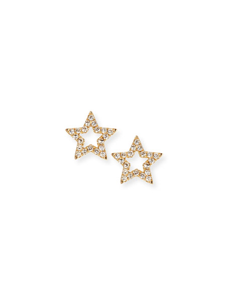 532acbeed EF Collection 14k Gold Diamond Open-Star Stud Earrings