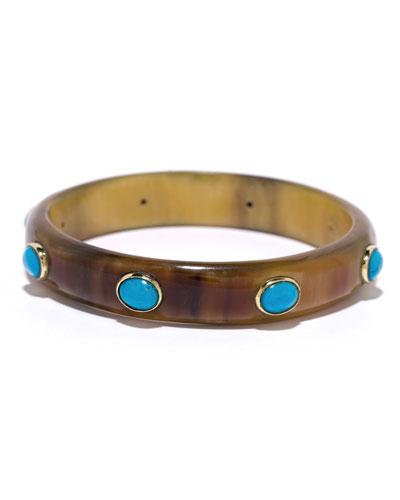 Narrow Horn & Turquoise Bangle