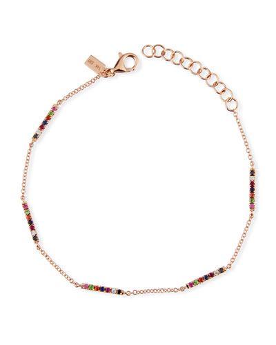14k Rose Gold Rainbow Bar Bracelet