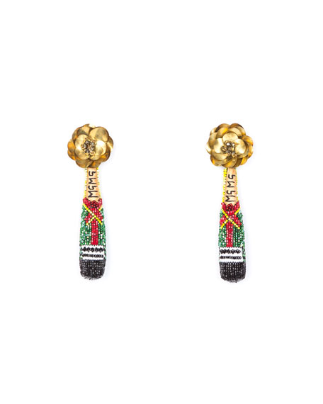 Image 1 of 1: Champagne Beaded Drop Earrings