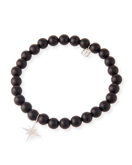 14k White Gold Diamond Starburst & Onyx Bracelet