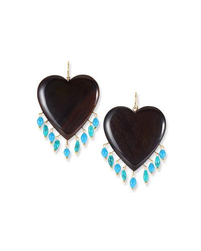 Landa Heart & Dangle Earrings  Dark/Turquoise