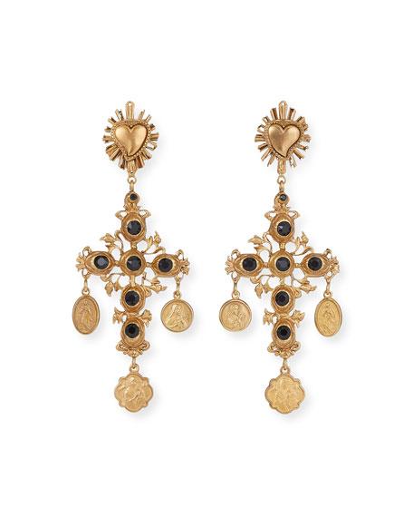 Dolce & Gabbana Black Crystal Cross Earrings