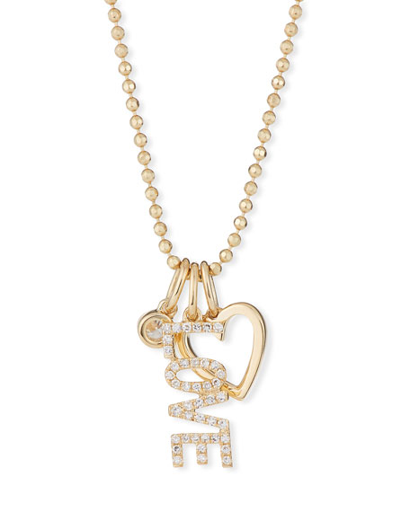 Ef Collection Accessories 14K DIAMOND LOVE CHARM NECKLACE
