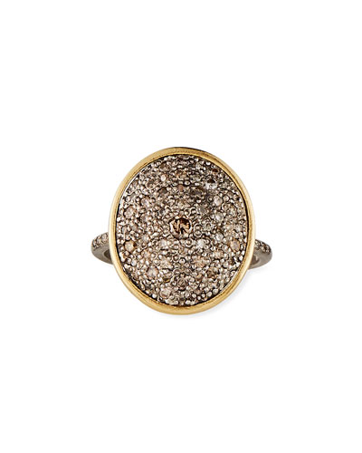 Old World Diamond Pave Oval Ring  Size 6.5