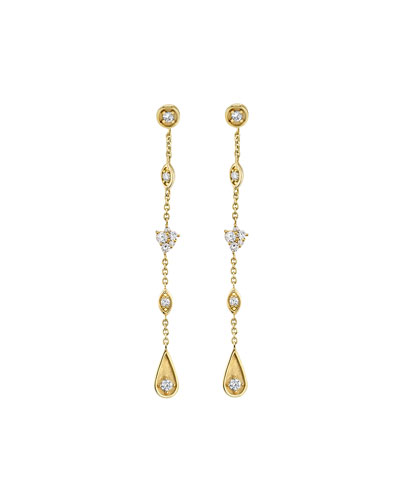 14k Long Diamond Mixed-Drop Earrings