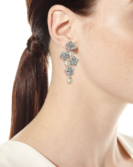 Floral Crystal & Pearly Earrings