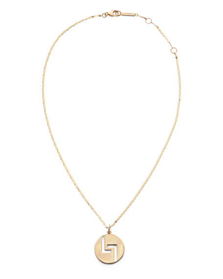 14k Gold 20mm Logo Pendant Necklace