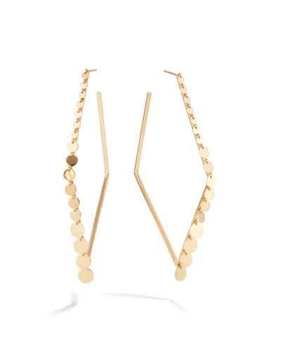 14k Diamond-Shaped Hoop Earrings w/ Dangles
