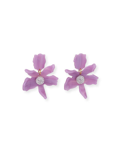 Small Crystal Lily Drop Earrings  Lilac