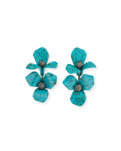 Trillium Bouquet Drop Earrings  Turquoise