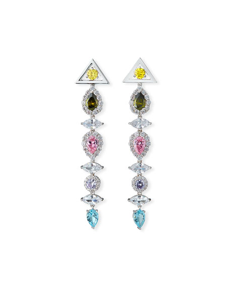 Image 1 of 1: Pagoda Drop Earrings, Pastel Multicolor