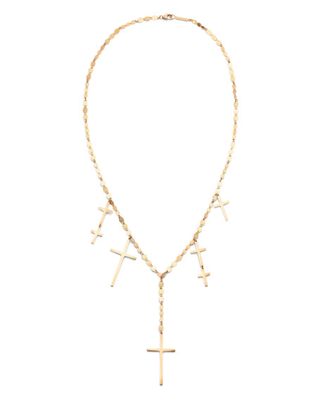 14k Multi-Cross Lariat Necklace
