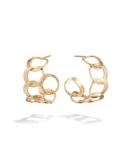 14k Wide Bond-Link Hoop Earrings