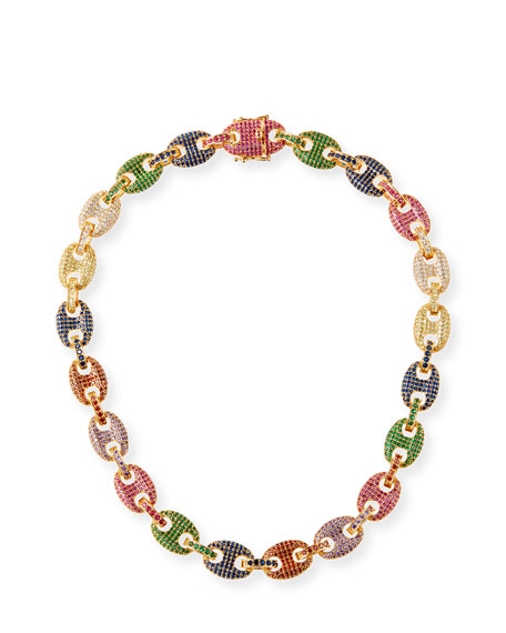 Image 1 of 1: Toscano Pave-Link Necklace, Multicolor