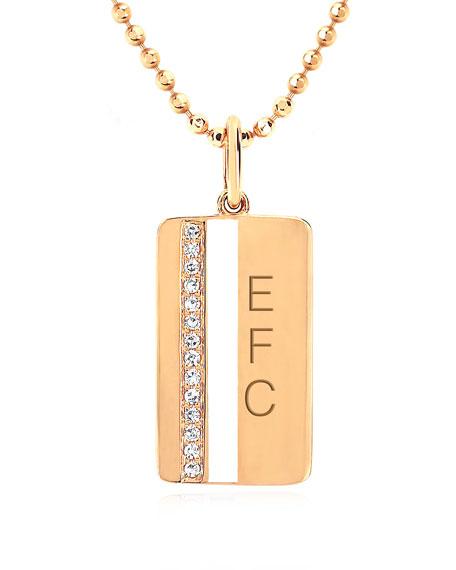 14k Diamond & Enamel Stripe Pendant Necklace, White