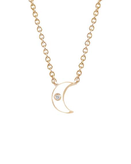 14k Rose Gold Diamond & Enamel Crescent Necklace, White