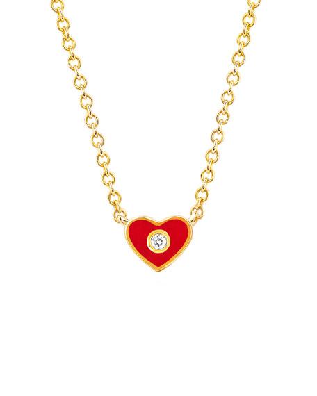 14k Diamond & Enamel Heart Necklace, Red