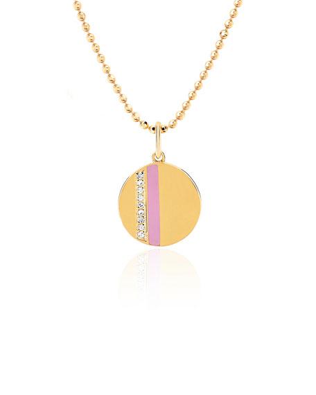 14k Diamond & Enamel Stripe Necklace, Pink
