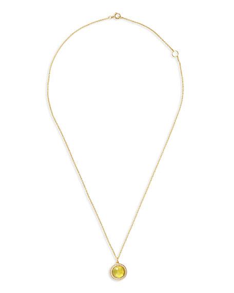 18k Lollipop Citrine & Diamond Pendant Necklace