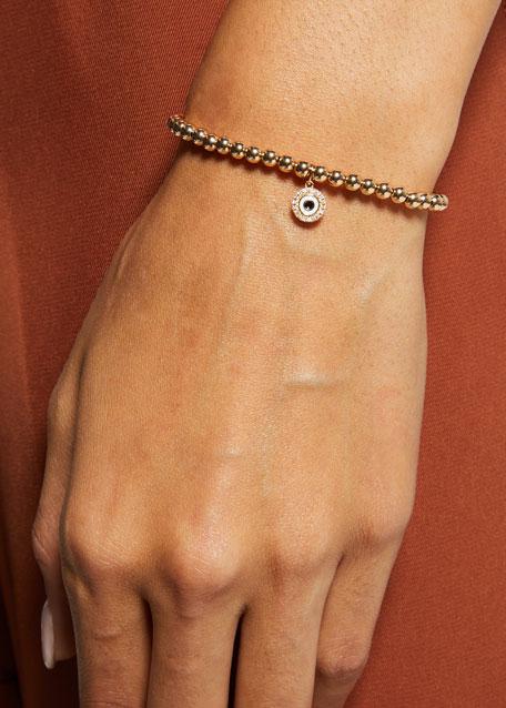 14k Gold 4mm Bead & Diamond Evil Eye Bracelet