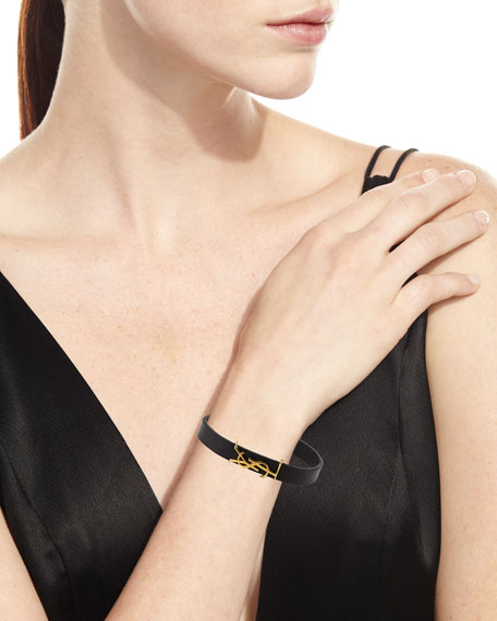 Leather YSL Monogram Bracelet, Black/Gold