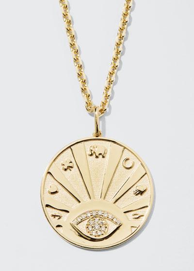 14k Evil Eye Medallion Necklace w/ Diamonds