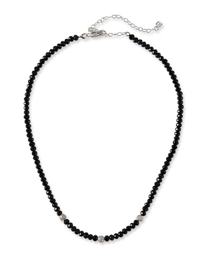 14k White Gold 3-Diamond Bead & Black Spinel Necklace