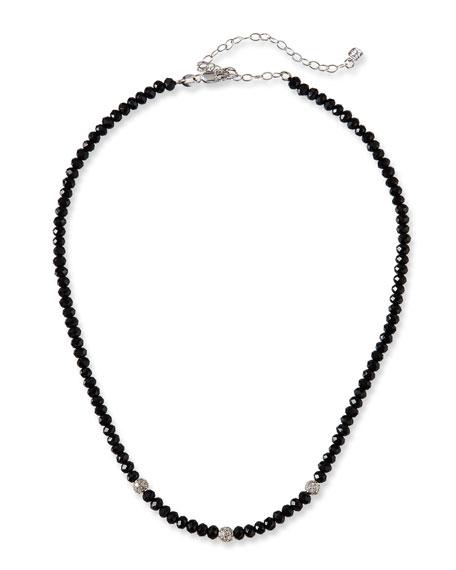 14k White Gold 3-Diamond Bead & Black Spinel Necklace