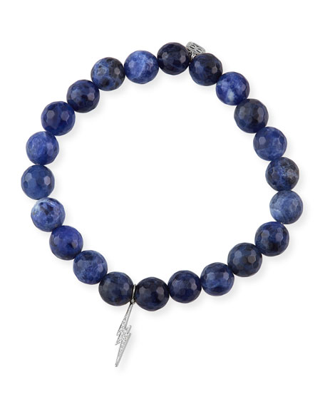 Image 1 of 1: 14k Diamond Bolt & Sodalite Bracelet
