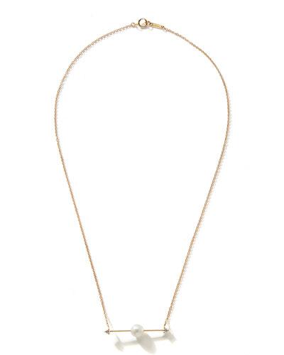 14k Floating Pearl-Bar Necklace